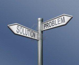 problem solution road sign